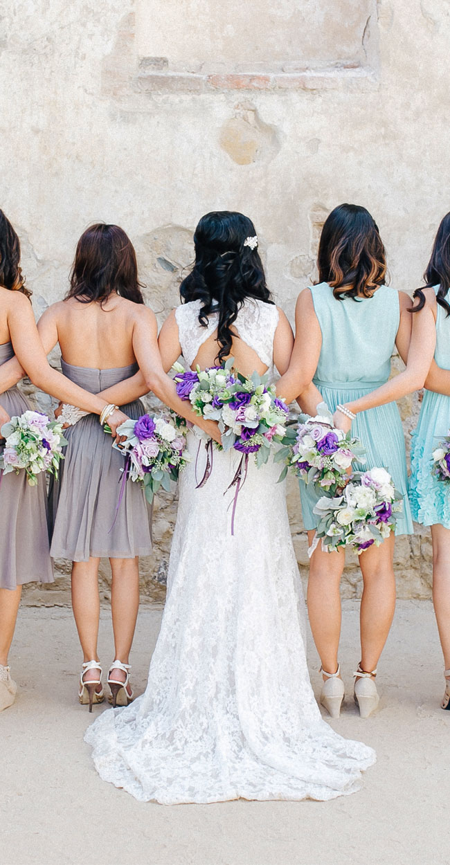 Wedding Hair & Makeup, bridal party with their backs to the camera, showing off their hair